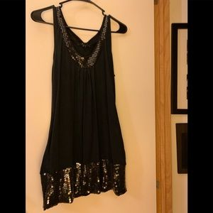 Beautiful Black Tank with Sequened Trim